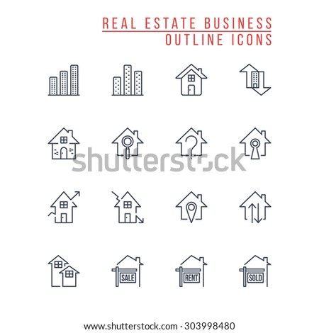 Real Estate Business Outline Icons