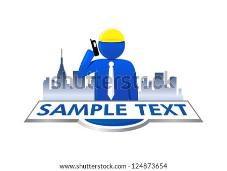 Real Estate Businessman talking with cell phone - stock vector