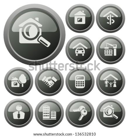 Real estate button set - stock vector