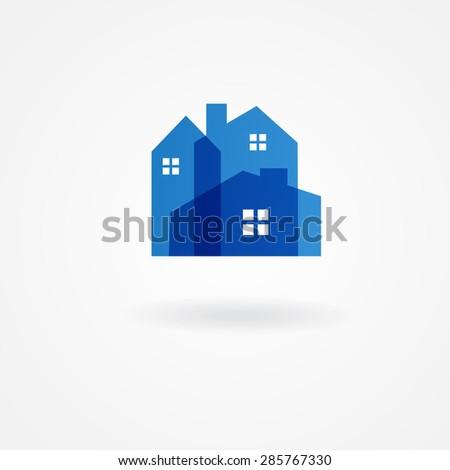 Real estate company logotype.  Vector logo design template. Houses abstract concept icon. - stock vector