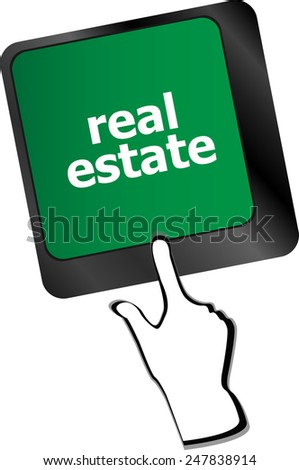 Real Estate concept. hot key on computer keyboard with Real Estate words - stock vector