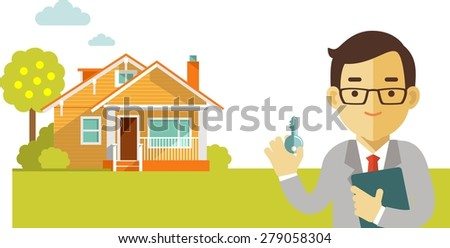 Real estate concept realtor man with key on house background in flat style - stock vector