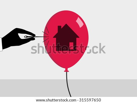 Real estate crisis and declining real estate prices concept. Vector illustration of hand and needle bursting a bubble or balloon with house symbol. - stock vector