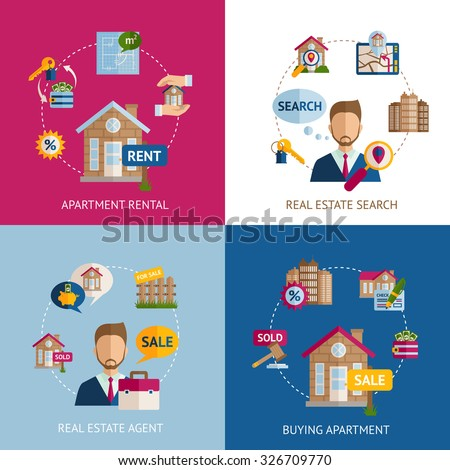 Real estate design concept set with apartment rental flat icons isolated vector illustration - stock vector