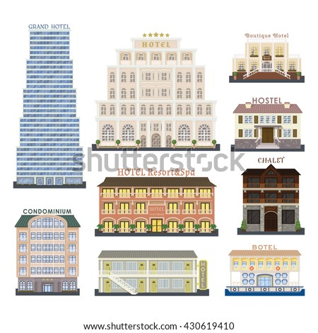 Real estate design hotel buildings and hotel buildings vector set. Hotel buildings architecture city and urban hotel buildings modern exterior symbol town. Hotel buildings perspective graphic center. - stock vector