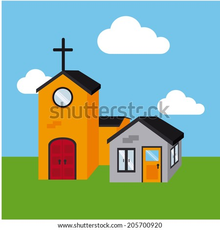 Real estate design over landscape background, vector illustration