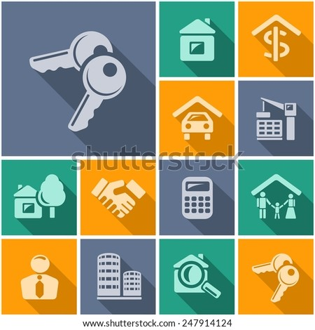 Real estate flat icons - stock vector