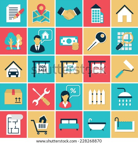 Real Estate flat icons set. Flat icons vector set in retro colors of real estate elements for web and applications. - stock vector