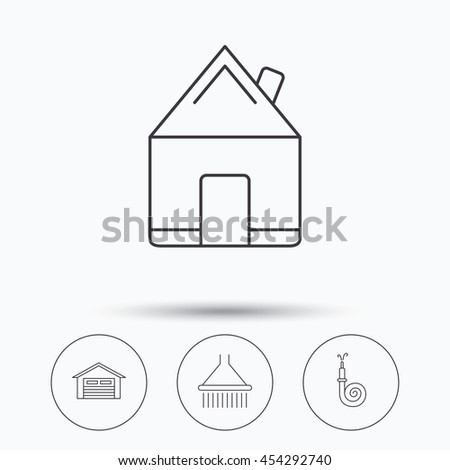 Real estate, garage and shower icons. Fire hose linear sign. Linear icons in circle buttons. Flat web symbols. Vector