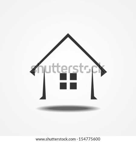 Real estate home icon with shadow
