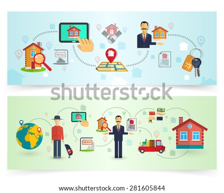 Real estate house and apartment buying horizontal banner set isolated vector illustration - stock vector