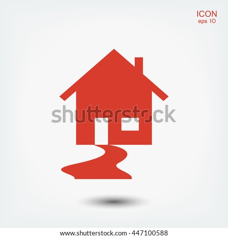 Real Estate, House and swoosh road icon vector - stock vector