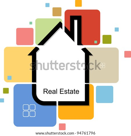 real estate house from color cards - stock vector
