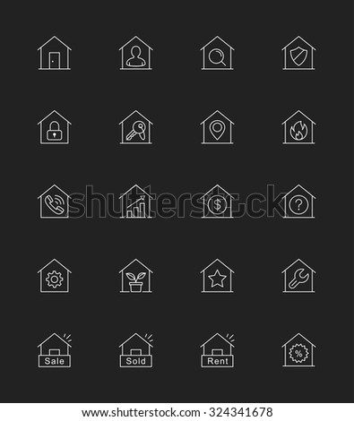 Real Estate & House icons, Thin line - Vector Illustration
