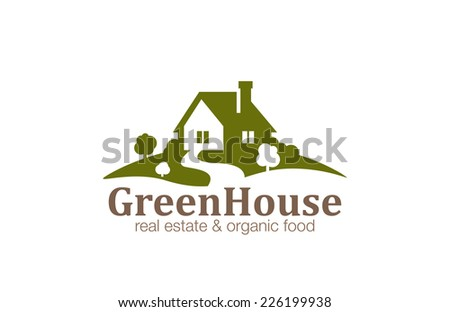 Real Estate House Logo design vector template. Organic Natural Farm Logotype. Eco green nature village concept icon. - stock vector