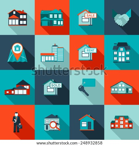 Real estate house residential apartment icon flat set isolated vector illustration - stock vector