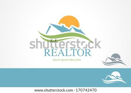 Real Estate Housing Valley Concept Design Template. Estates. Realtor. Agent. Rent - stock vector