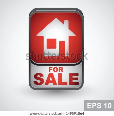 Real estate icon. Home for sale vector button - stock vector