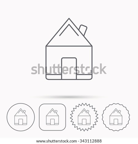 Real estate icon. House building sign. Real-estate property symbol. Linear circle, square and star buttons with icons.