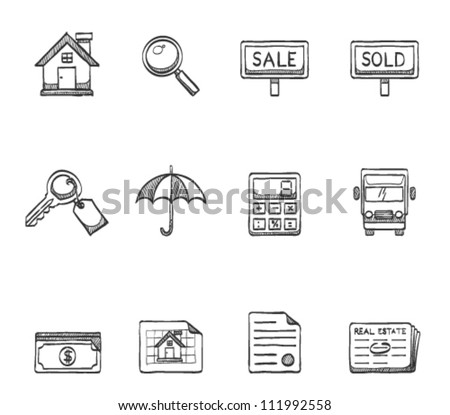 Real estate icon series in sketch - stock vector