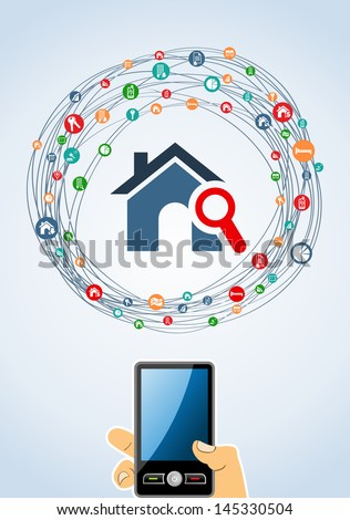 Real estate icon smart phone set in  isolated silhouette over white. Vector file layered for easy manipulation and custom coloring. - stock vector