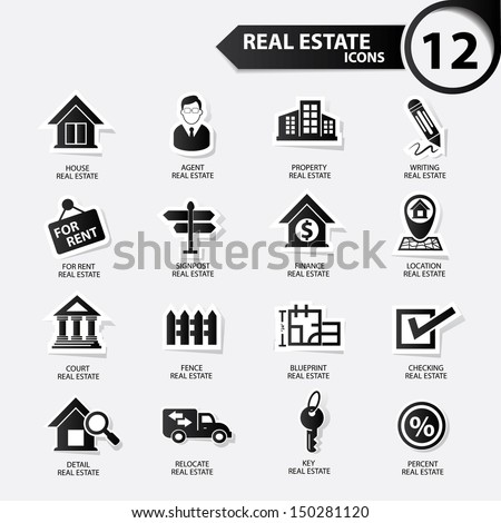 Real estate icons,Black version,vector - stock vector