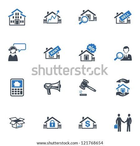 Real Estate Icons - Blue Series - stock vector