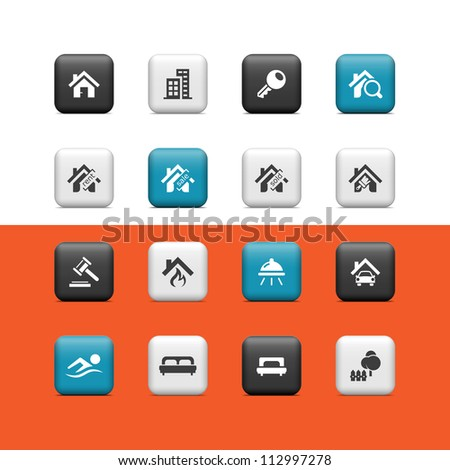 Real estate icons. Buttons - stock vector