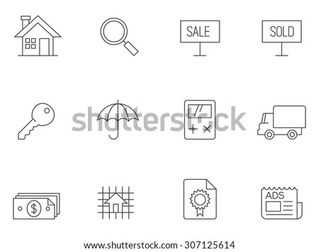 Real estate icons in thin outlines. - stock vector
