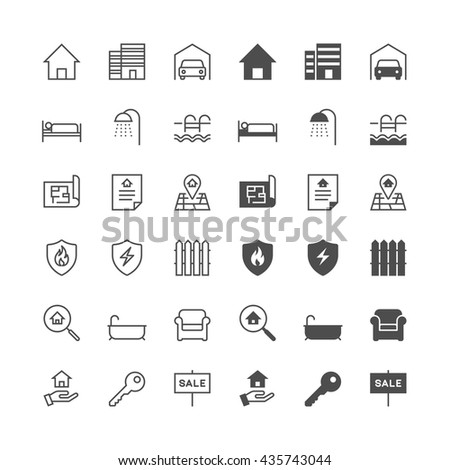 Real estate icons, included normal and enable state. - stock vector
