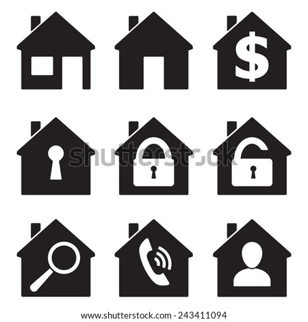 Real estate icons isolated on white background. Home or houses icon set. Vector illustration. - stock vector