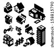 Real Estate Icons Isometric - stock vector