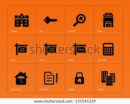 Real Estate Icons on orange background. Vector illustration.