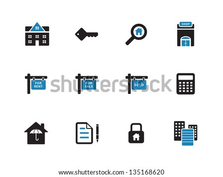 Real Estate Icons on white background. Vector illustration. - stock vector