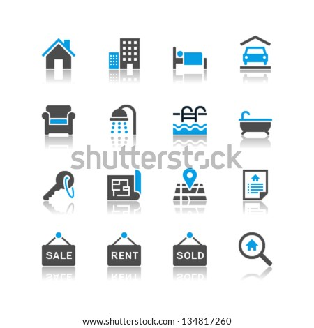 Real estate icons reflection theme - stock vector
