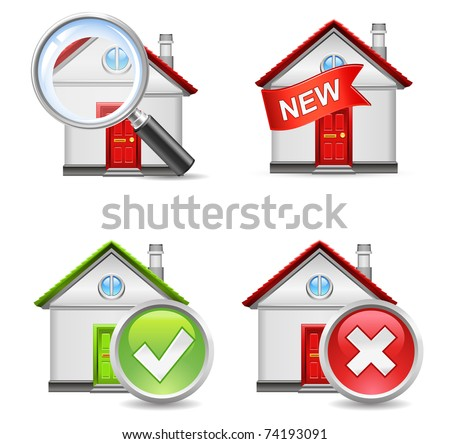 real estate icons set 1 - search, new, yes, no - stock vector