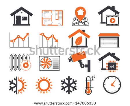 Real estate icons set 06 Smart house - stock vector