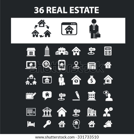 Real estate icons & signs concept vector set for infographics, website - stock vector