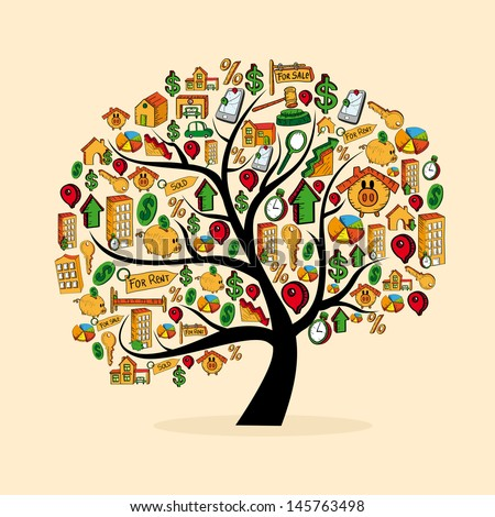 Real estate icons tree set isolated over white. Vector file layered for easy manipulation and custom coloring.