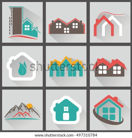 Real Estate icons, vector illustation set with long shadow.
