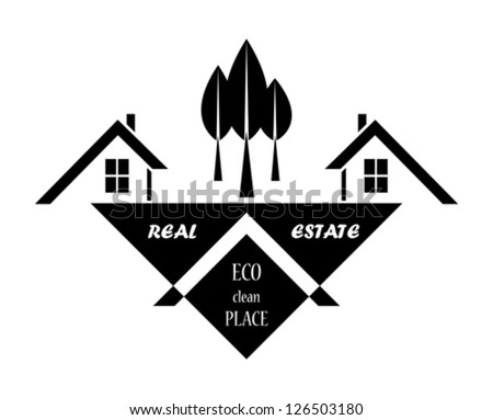 Real estate in eco clean place. Vector illustration - stock vector