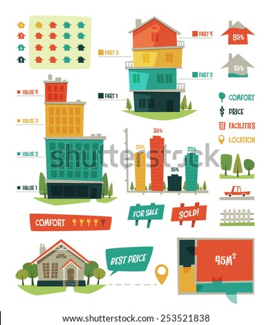 Real estate. Infographic elements. Vector illustration. - stock vector