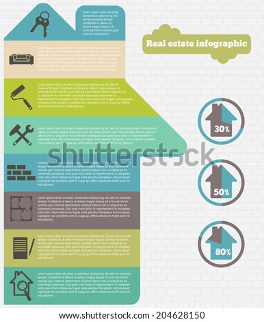Real estate infographic set  vector illustration.  - stock vector