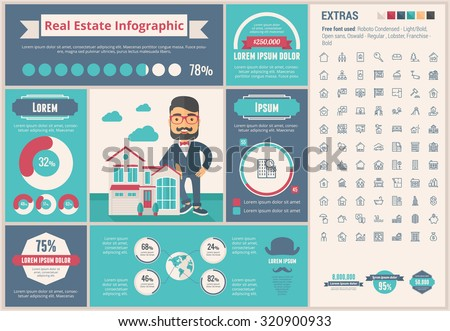 Real Estate infographic template and elements. The template includes illustrations of hipster men and huge awesome set of thin line icons. Modern minimalistic flat vector design.