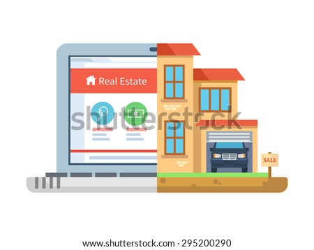 Real estate. Laptop and building, house isolated, residential symbol, concept online sell agency, cottage and mansion, marketing commercial residence. Vector illustration  - stock vector
