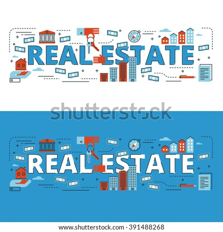 Real estate lettering flat line design with icons and elements for book cover, report header, presentation,illustration, infographics, printing, website banner and landing page. - stock vector