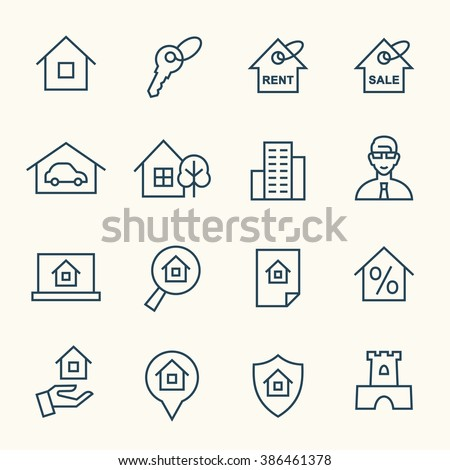 Real estate line icons - stock vector