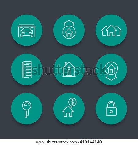 Real estate line icons, mortgage, key, rent, loan, building, rental, house for sale, property round green icons, vector illustration - stock vector