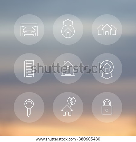 Real estate line icons, mortgage, key, rent, sale, loan, building, property transparent round icons set, vector illustration - stock vector
