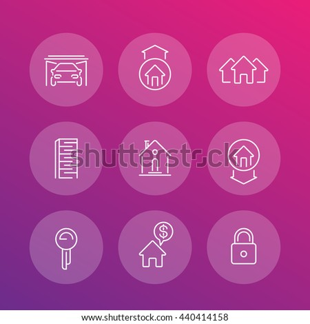 Real estate line icons set, mortgage, rent, sale, loan, property, building - stock vector